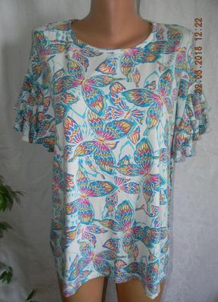 Трикотажная блуза с бабочками большого размера