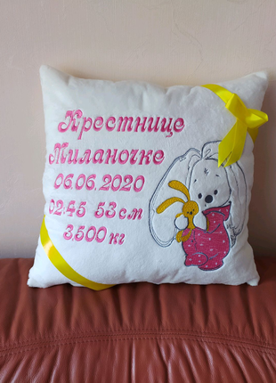 Подушка Подарок метрика новорожденному крестнику ребенку