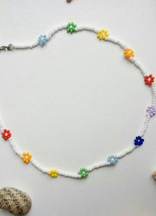 Чокер из бисера ромашки цветочки, квіти, белый, радуга, білий,...