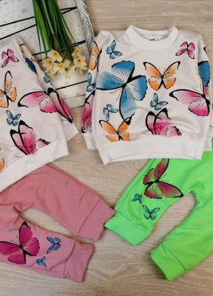 Яркий костюм с бабочками на девочку