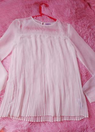 Блуза f&f новая белая школа шикарная девочка 12-13лет
