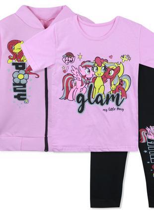 Костюм 3 в 1, костюм тройка, для девочки, розовый. маленькие п...
