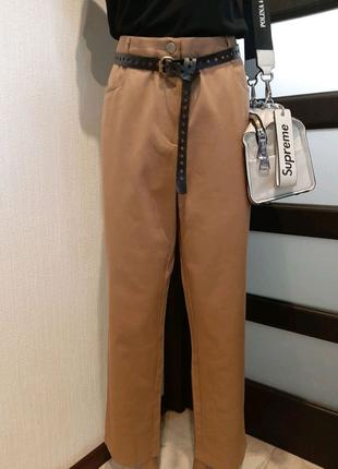 Отличные плотные брюки штаны бананы с высокой посадкой