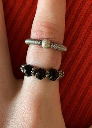 Комплект, набір кольцо на резинке, серебристые кольца.