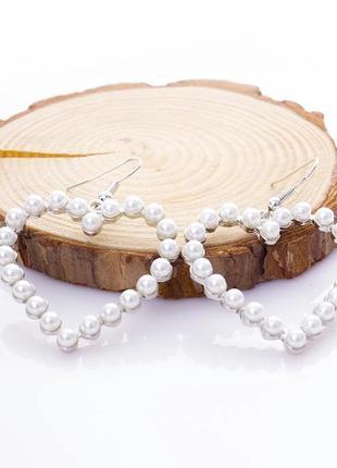 Вечерние серьги серебристые с жемчугом у форме сердца сережки