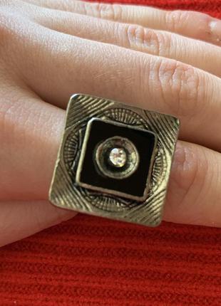 Біжутерія колечко під срібло, красивое кольцо, большое кольцо.