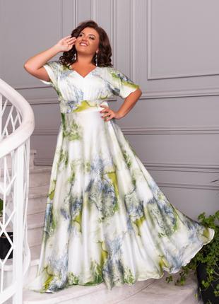 Платье в пол Ткань шелк с 50 по 64 размеры цвета на фото