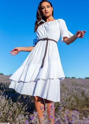 Стильное платье с поясом лен большие размеры