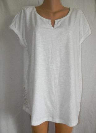 Натуральная белая блуза с кружевом