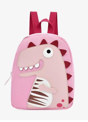 Детский рюкзак, розовый. тираннозавр рекс.