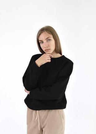 Черный базовый свитшот толстовка женская и мужская