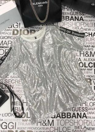 Женская гламурная блестящая футболка в паетку