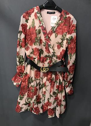 Стильное женское  платье шифон в цветочек