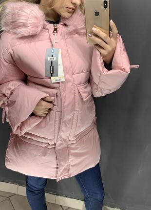 Женский пуховик куртка зимняя с мехом в пудровом цвете