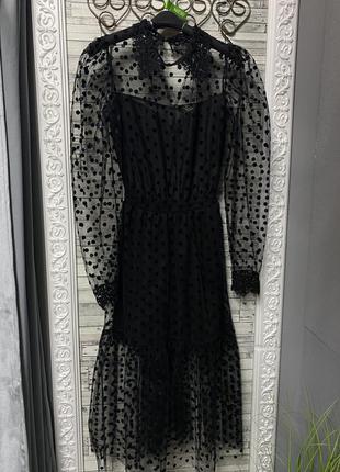 Гламурное платье фатин в горох