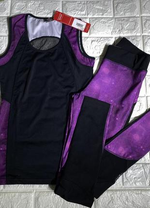 Спортивный костюм для спорта и фитнесса лосины   майка