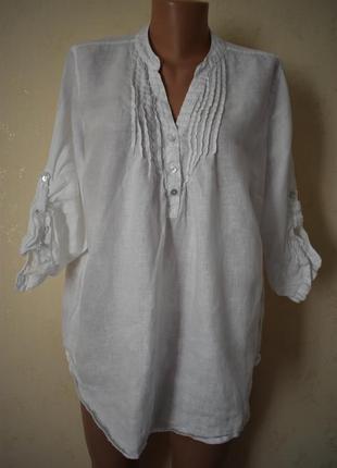 Белая льняная блуза большого размера