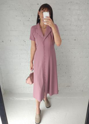 Винтажное платье лилового цвета с лацканами
