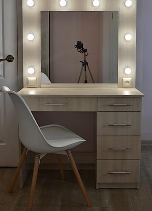 Макияжное зеркало с подсветкой стол с ящиками