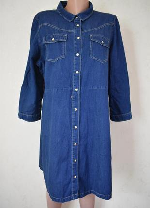 Джинсовое платье -рубашка большого размера