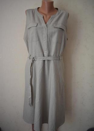 Стильное льняное платье большого размера