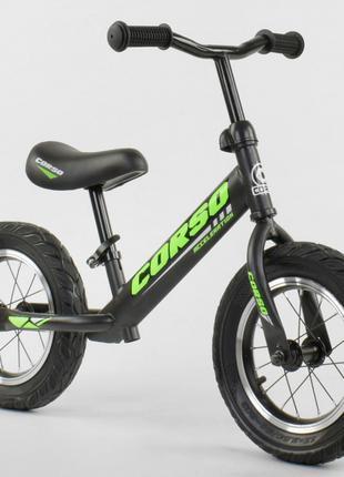 Беговел, велобег CORSO 36906 стальная рама, колесо 12« надувные к