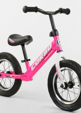 Беговел, велобег CORSO 63908 стальная рама, колесо 12« надувные к