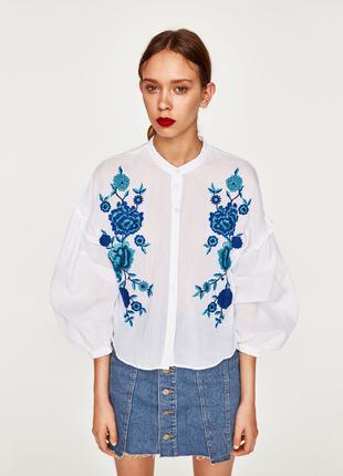Женская рубашка блуза с вышивкой zara l-xl, наш 48-50-52 хлопок