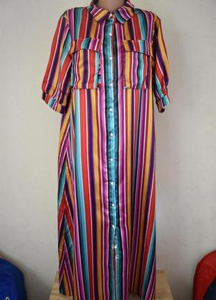 Красивое платье-рубашка в полоску misslook