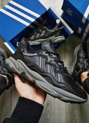 Adidas ozweego black leather🔺мужские кроссовки adidas black 🔺4...