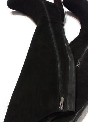 Женские деми сапоги ботфорты 39р кожа замша демисезонные утепленн