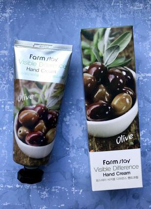 Крем для рук с оливой farmstay visible difference olive hand c...