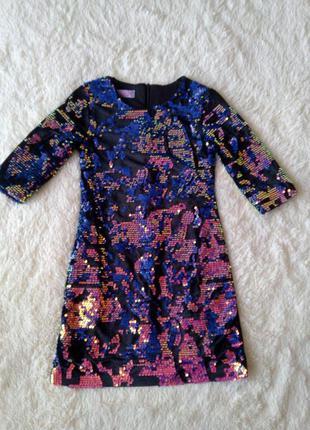 Нарядное платье для девочки пайетки перевертыш.