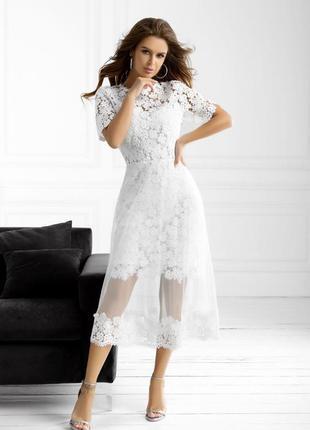 Платье женское белое ажурное вечернее