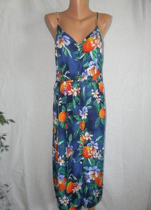 Натуральное летнее платье на тонких бретелях