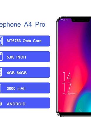 """Смартфон Elephone a4 pro 4/64Gb, 5,85"""",3000mla."""