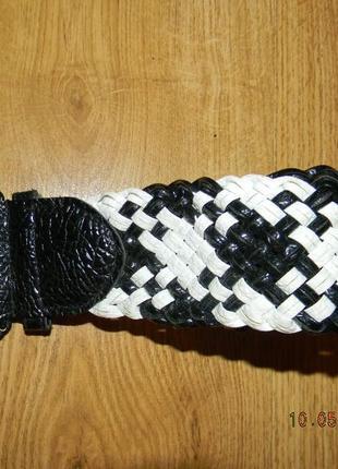 Пояс плетеный черно-белый