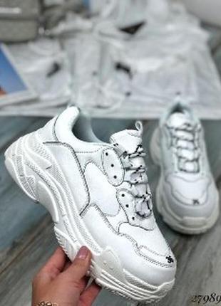 Кроссовки белые на широкой подошве