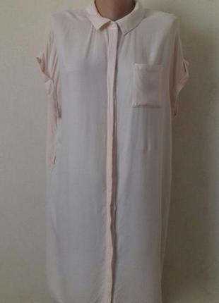 Вискозное платье-рубашка большого размера