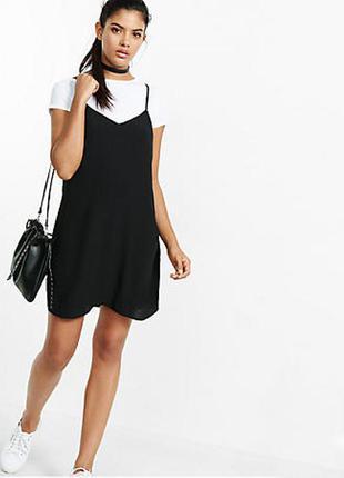 Черное короткое платье майка на тонких бретелях