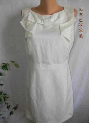 Элегантное белое платье лен