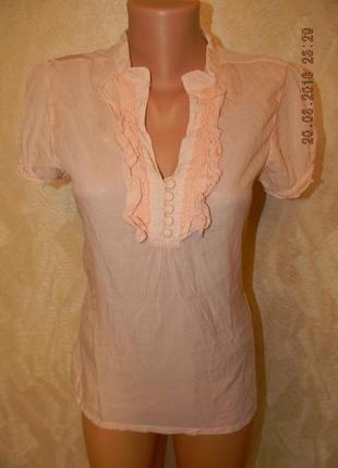 Тонкая натуральная блуза персикового цвета