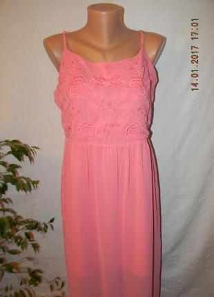 Коралловое длинное платье с вышивкой new look
