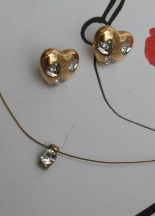 Серьги сердечки колье под золото и бриллианты