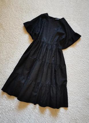 Платье ярусное перфорация прошва шитье свободного фасона объем...