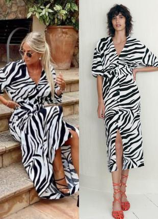 Платье-миди zara с принтом зебра из смесовой льняной ткани