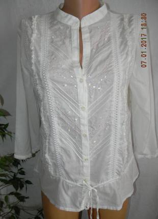 Блуза белая натуральная с вышивкой