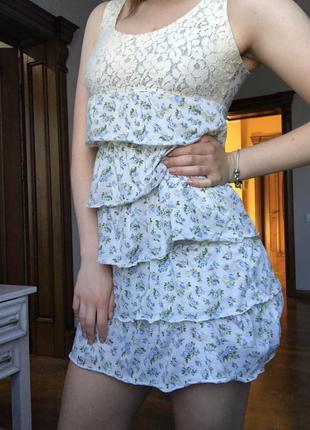Летнее платье /цветочный принт/ярусное/ гипюр/ бежевое платье/...