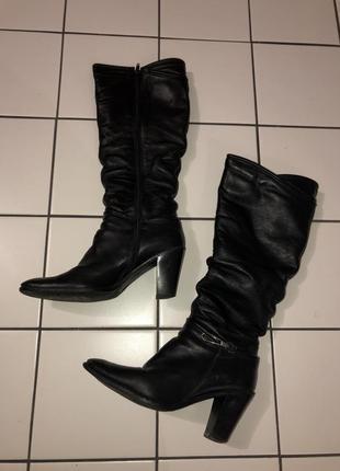 Сапоги кожаные на каблуке тёплая зима на каблуке высокие