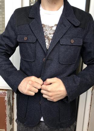 Темно синий пиджак asos мужской твидовый трендовый